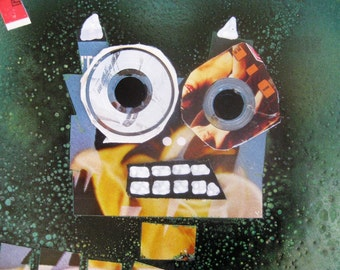 Moo Cow Upcycled Art Collage Made from Album Cover