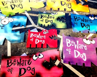 Beware of Dog Signs: Custom Colors and Sizes LARGE SIZE