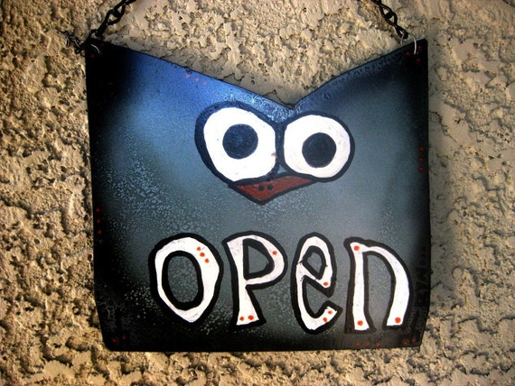 Open and Closed Reversible Metal Sign -  Oliver Owl for Bathroom or Business