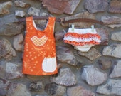 SALE Tangerine Summer Pinafore Top and Ruffle Bottoms