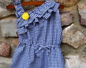 One Shouldered Ruffle Dress in Navy Gingham and matching hair clip
