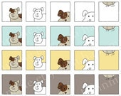 Kitty and Doggie - Printable Digital Inchies Collage Sheet - 1x1in