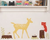 ON SALE Wall Decals Deer (Reusable and removable fabric stickers, not vinyl) - Oh Deer (retro)