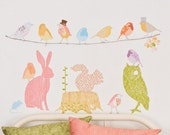 Fabric Wall Decal - Forest Critters Girly (reusable) NO PVC