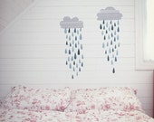ON SALE Fabric Wall Decal - Rain Clouds (reusable) No PVC