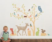 Fabric Wall Decal - Woodland Scene Earthy (reusable) NO PVC