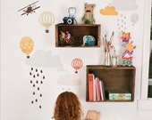 SALE Wall Decals (Reusable and removable fabric stickers, not vinyl) - Up Up And Away (Large)