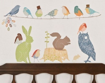 Fabric Wall Decal - Forest Critters Earthy (reusable) NO PVC