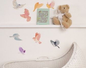 Fabric Wall Decal - Flying Twitters girly (reusable) NO PVC