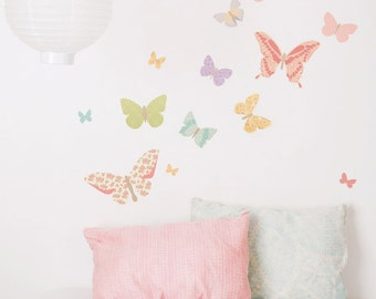 Fabric Wall Decal - Butterflies Girly (reusable) NO PVC