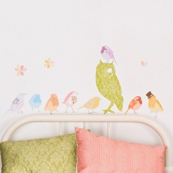 Twitter Birds - Adhesive Fabric Wall Stickers \/ Decals