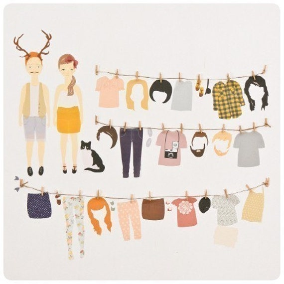 Items Similar To Wall Stickers Paper Doll Reusable And