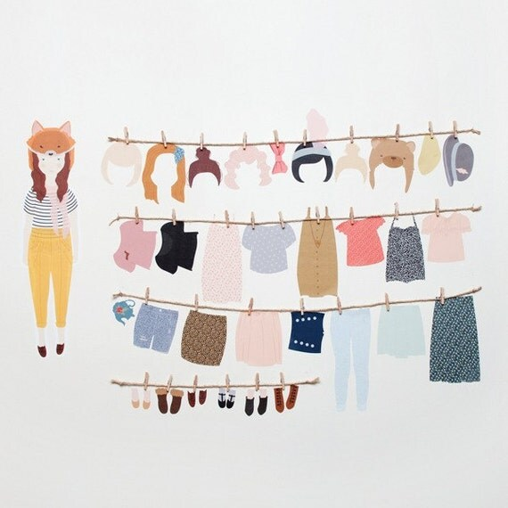 Wall Stickers Paper Doll Reusable And Removable By
