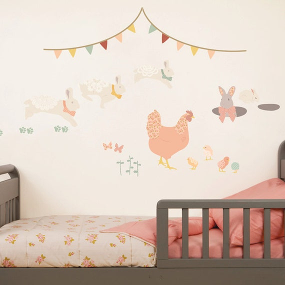 ON SALE Wall Decals Bunny & Chickens (Reusable and removable fabric stickers, not vinyl) - Bunny Adventure