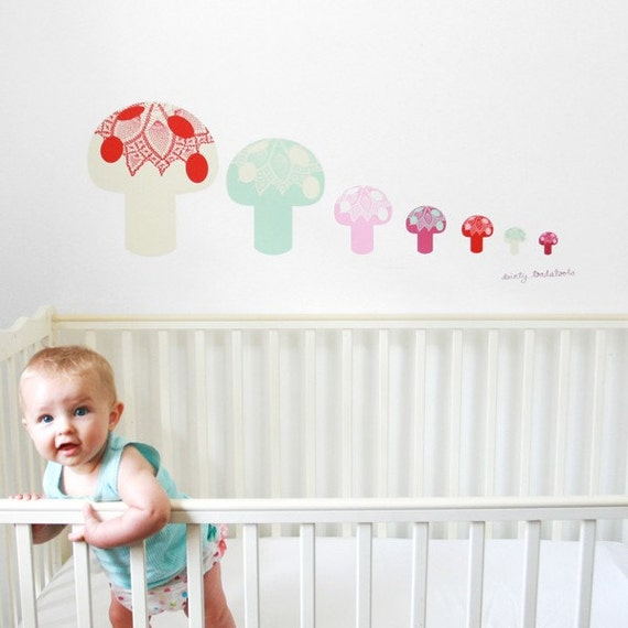 Dainty Toadstools - Adhesive Fabric Wall Stickers \/ Decals
