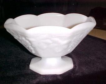 Vintage Milk Glass Compote Fruit Bowl Dish