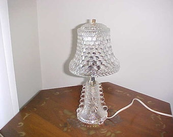 Vintage Art  Deco Clear Glass Lamp With Glass Shade In Working Condition.
