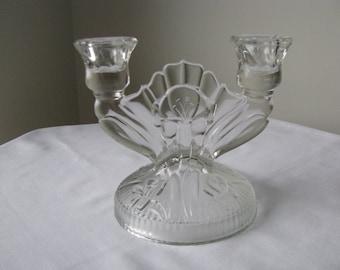 Vintage Iris and Herringbone Double Candle Holder