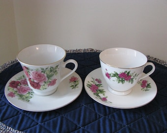 2 Pretty Cup and Saucer Sets With Roses Treasury Item