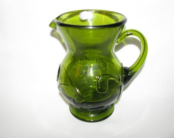 Vintage Hand Blown Green Art Glass Pitcher By Rainbow Treasury Item