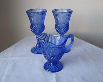 Vintage Fostoria Cobalt Blue Pitcher and 2 Goblets From Avon George Washington
