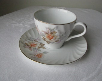 Vintage White Roses With Orange Centers Cup And Saucer Set