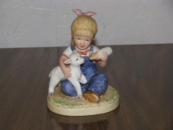 Vintage Homco Denim Days Figurine Girl Feeding Lamb