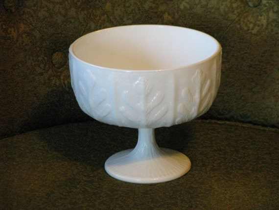 RESERVED for Kandi Rosenbalm............1975 FTD White Milk Glass With Oak Leaves Footed Planter/Candy Dish/Compote Dish
