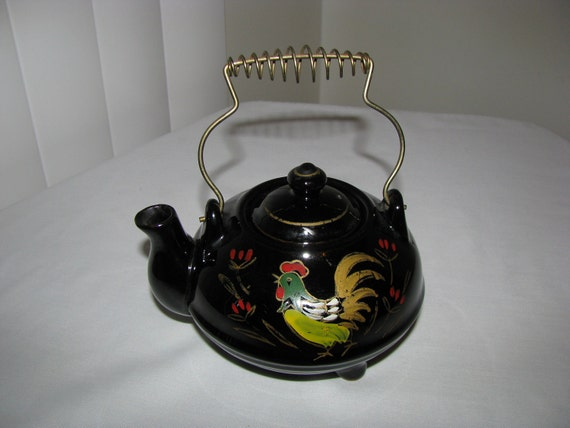 Vintage Small Black Teapot with Rooster Flowers And Wire Handle