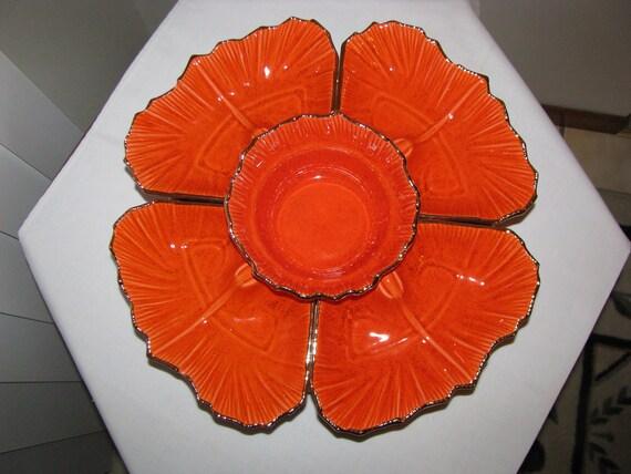 Vintage Orange USA Pottery Lazy Susan Chip And Dip Set G20