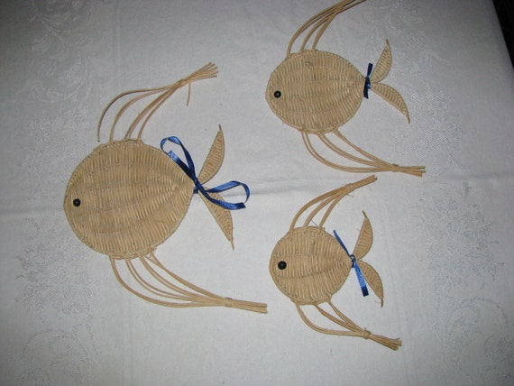 Vintage Set of 3 fish Wall Hangings