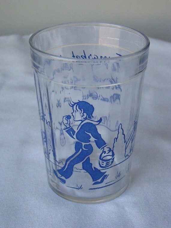 Vintage Drinking Glass 8 OZ 1930s Boy,Dog,Rhyme-To Market To Market