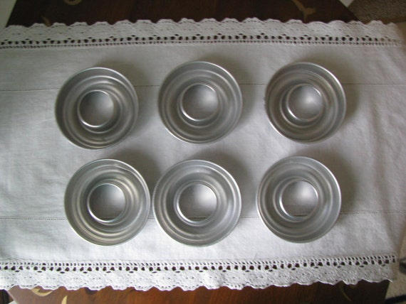 Lot of 6 Vintage Aluminum Mini Bundt Cake Jello Ring Molds Pans