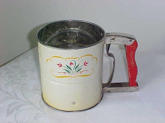 Vintage Androck Flour Sifter with Tulips 3 Screens 1950's