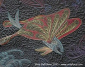Fishes Heaven Art Quilt wall hanging black whole cloth machine quilted