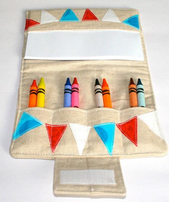 Crayon Wallet  - Personalized - Linen Applique