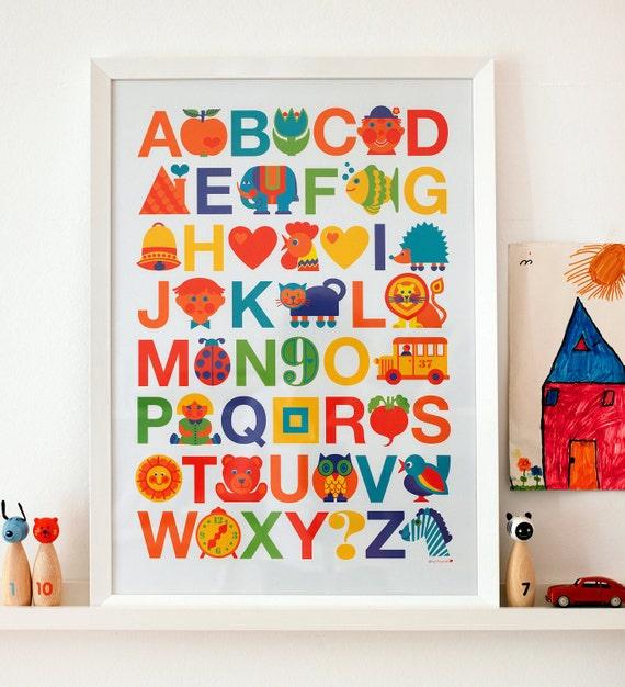 ABC poster | Alphabet print | Nursery decoration | ABC kids print | Retro print