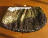 Vintage 1960's Smokey Copper Gold and White Beaded Purse