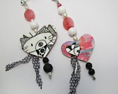Rose Cats earrings - RESERVED FOR ELENI
