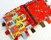 Sock Monkey Baby Blanket -  Ribbon Rag Quilt with minky