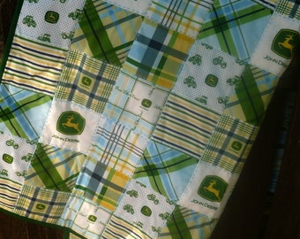 Boy Baby Quilt - John Deere Blue and Green - Crib Size