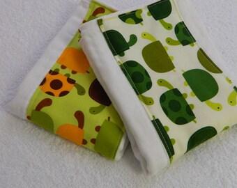 Turtle Burp Cloths - Green Orange Brown - set of 2 // Green Turtle Burp Cloths // Cotton Diaper Burp Cloths / Baby Shower Gift