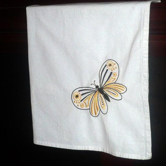 Dish Towel Sale: On Sale Sale White Kitchen Towel Embroidered Yellow And