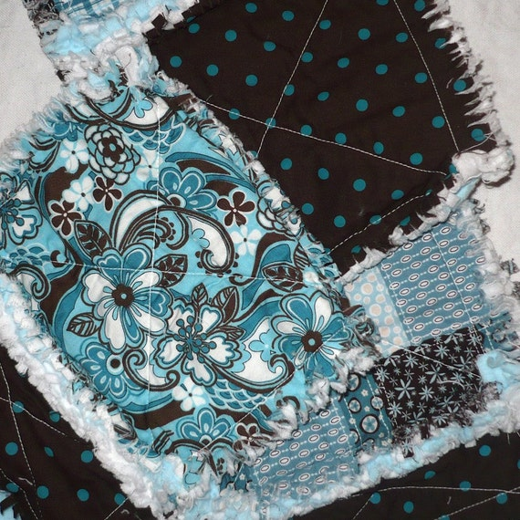 Rag Burp Cloths - Turquoise Blue and Brown Floral