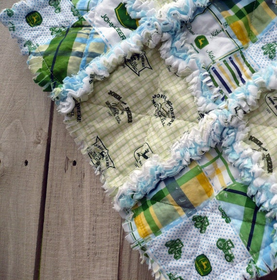 Plaid Baby Quilt: John Deere Blue And Green Plaid Rag Baby By