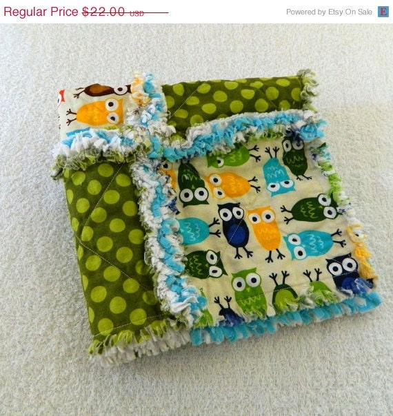 SALE Owl Security Blanket Green, Blue, & Brown Rag Quilt Lovey