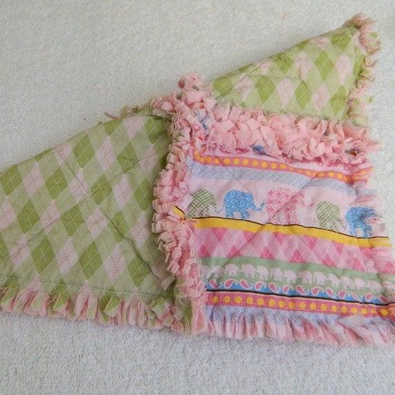 Elephant Blanket - Pink & Green - Baby Rag Quilt