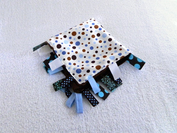 Blue Brown Blanket - Minky and Satin Dots Tag Ribbons