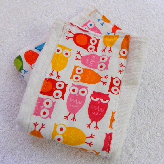 Owls Burp Cloth, Red Pink Orange Yellow Diaper Clothes Girl Animal