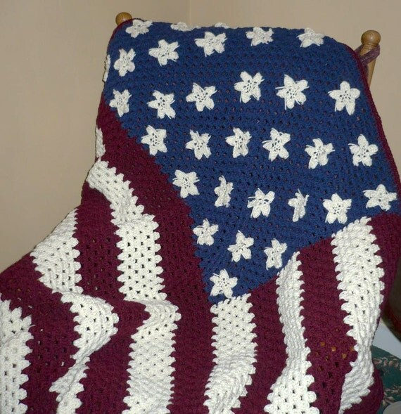 Crocheted Afghan Blanket - American Flag Afghan  Red, White and Blue  -Large